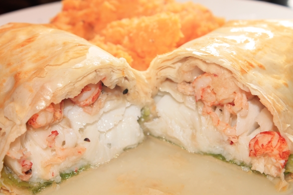 Cod and crayfish parcels