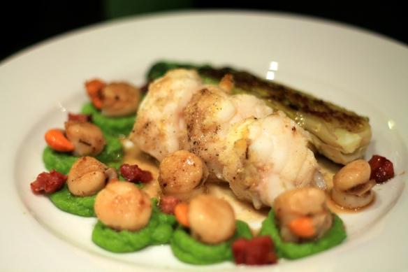 Monkfish Scallops and Pea Puree