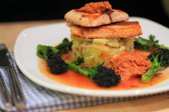 Salmon with Red Pesto and Tomato Broth