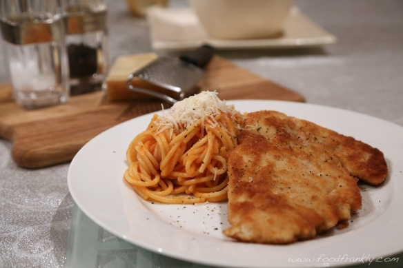 Chicken Milanese with Spaghetti Pomodoro