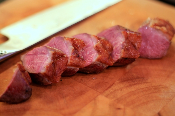 Sliced duck breast