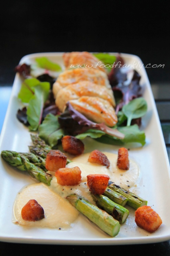Asparagus Parmesan Custard Anchovy Croutons