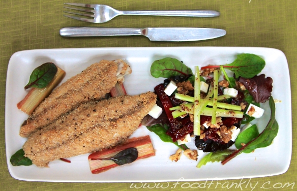 Mackerel and Rhubarb with Feta & Beetroot Salad