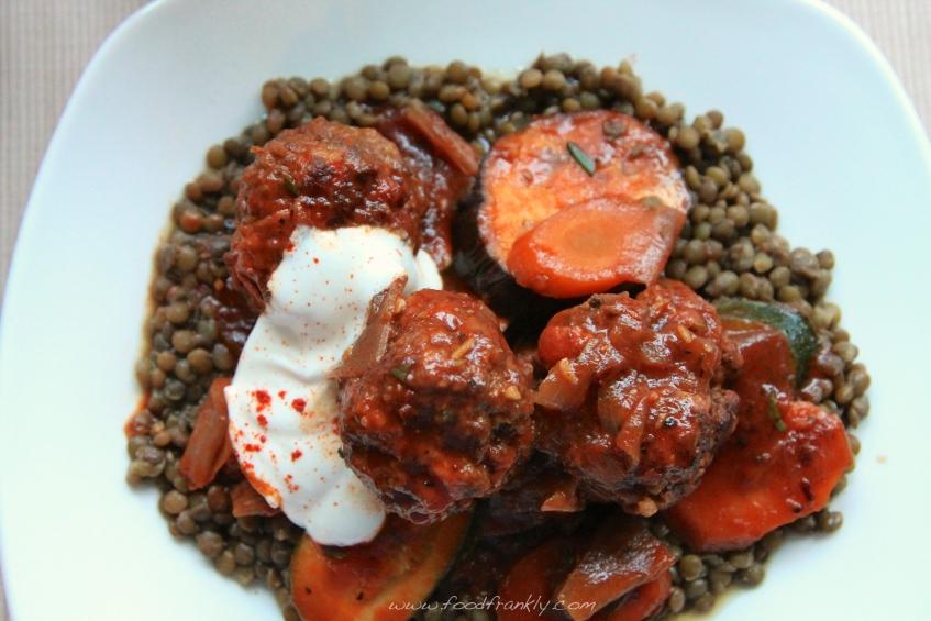 venison meatballs and lentils
