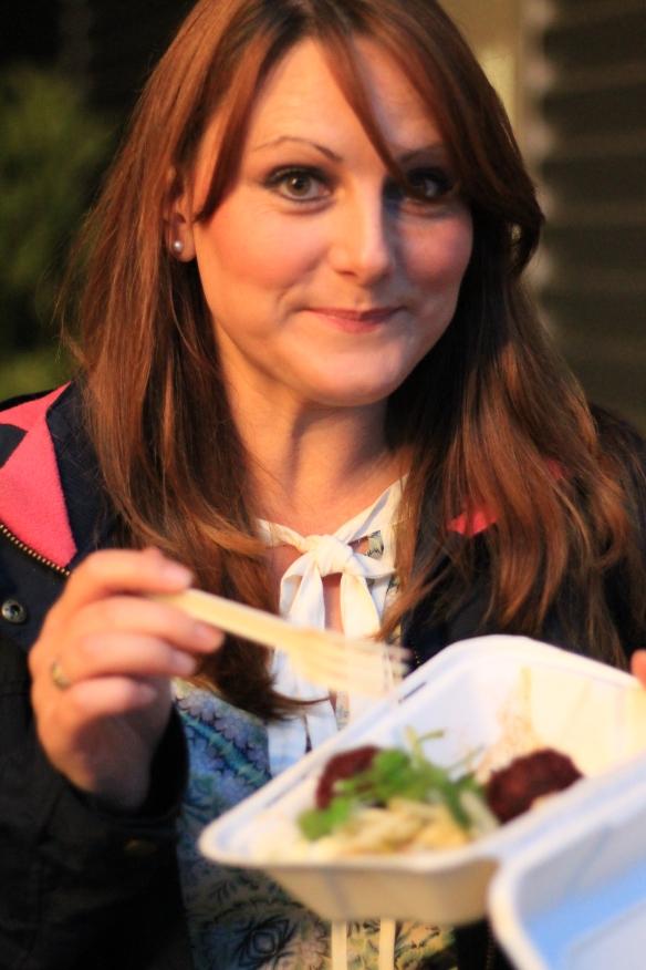 Helen enjoying beetroot falafel. I think I suprised her...