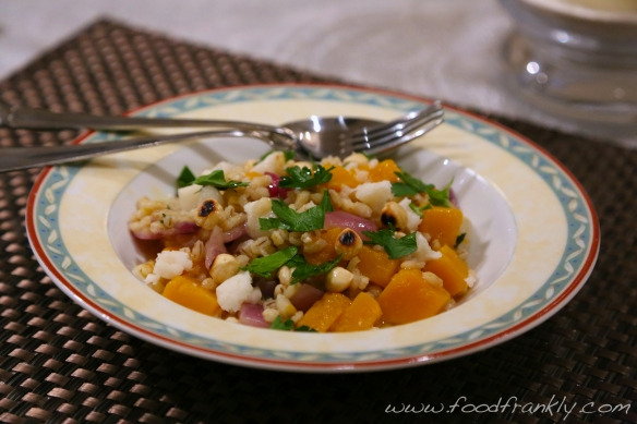 Barley Risotto with Butternut Squash, Hazelnuts and Goat's Cheese