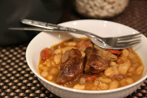 Braised pork cheek and bean stew