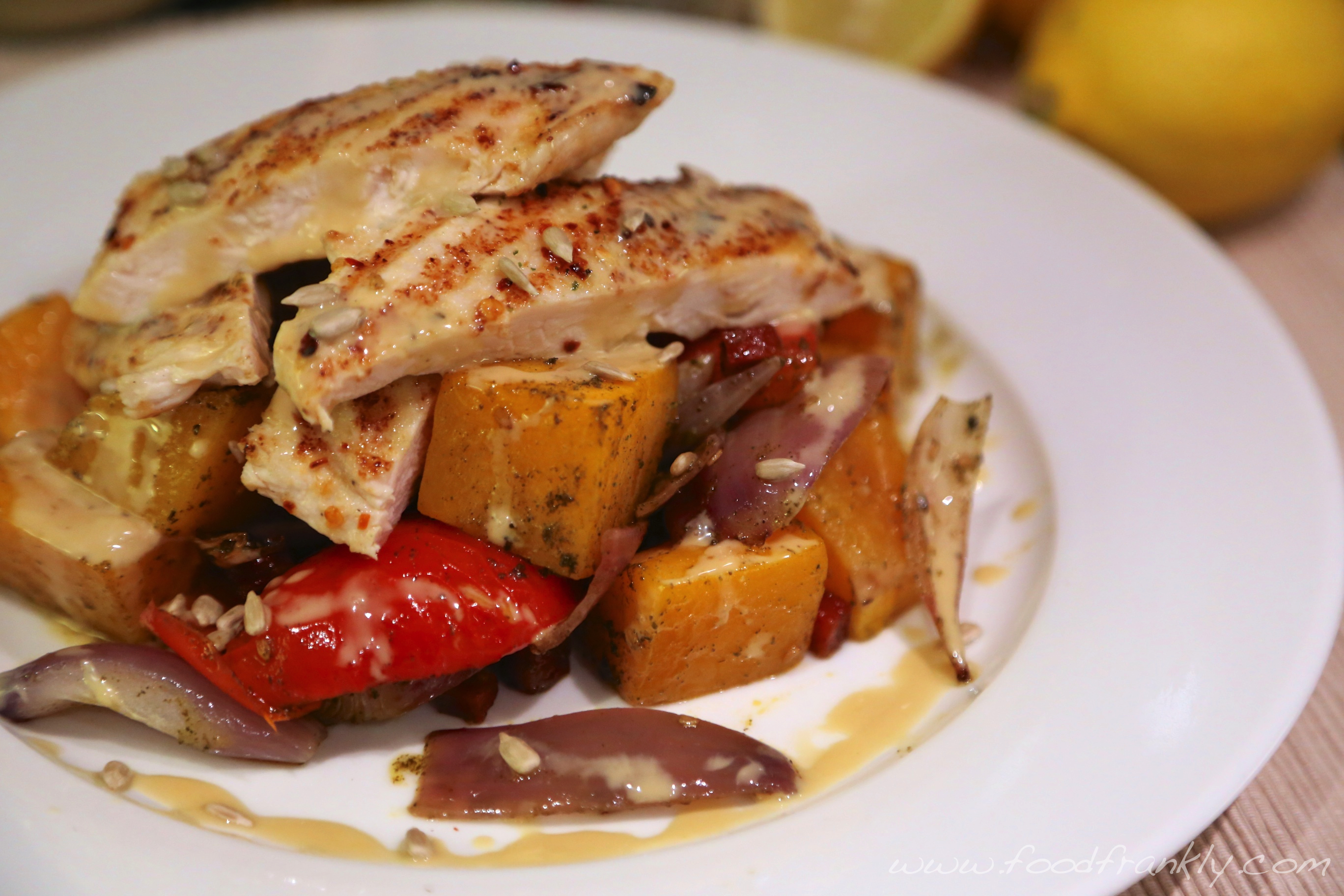 Grilled Chicken, Roast Vegetables and Tahini Dressing. | Food, Frankly