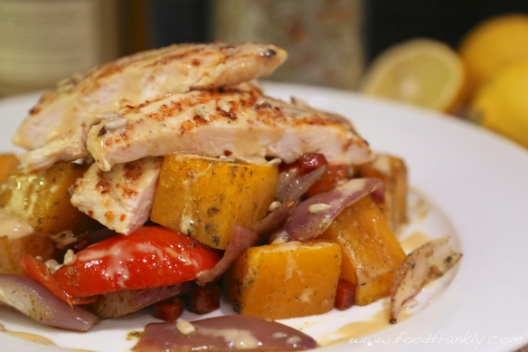 Grilled chicken with roast vegetables and tahini dressing