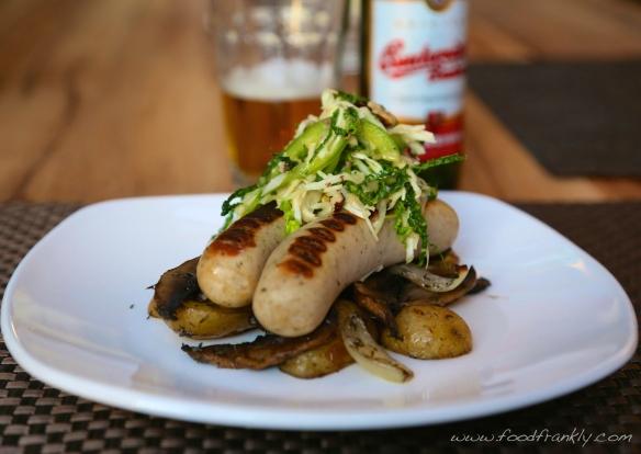 Bratwurst, green slaw and mushroom hash