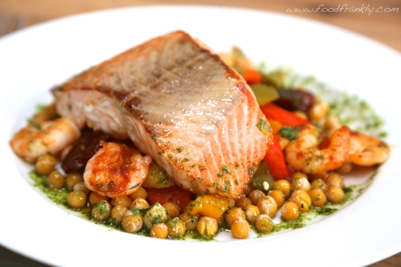 Salmon, chickpeas, basil oil roast peppers