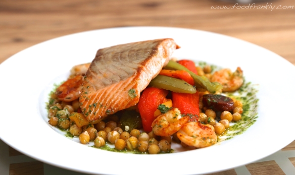Salmon, chickpeas, basil oil, roast peppers