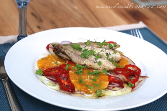 Chargrilled sardines orange and fennel salad