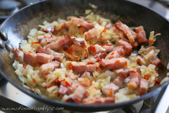 Pancetta onion chilli