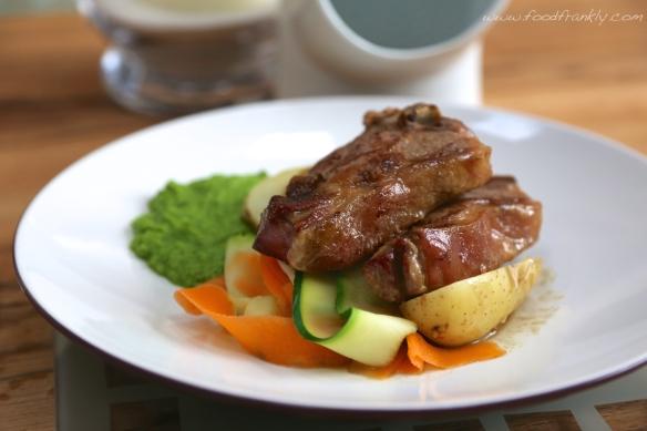 Lamb chops, anchovies, minted pea puree