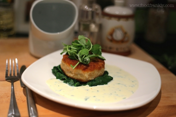 fishcake with tarragon sauce and spinach
