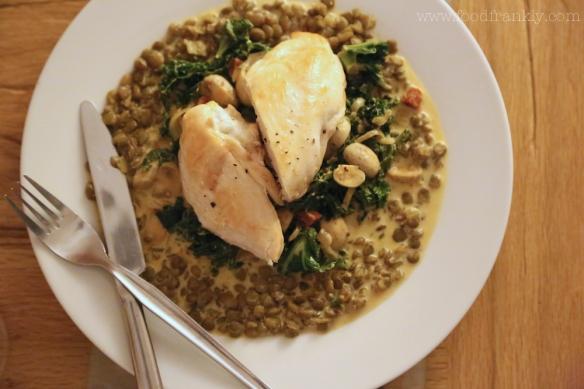 chicken, lentils, chorizo, kale