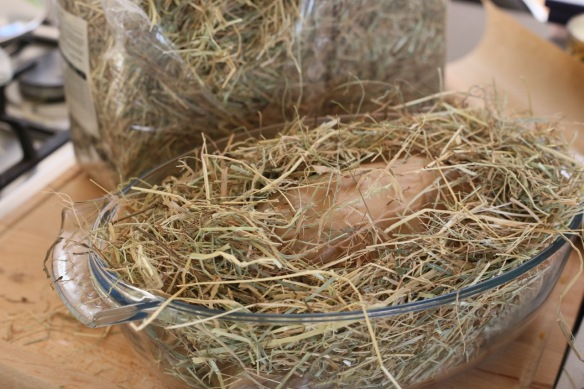Chicken in hay